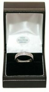 925 Sterling Silver Half Eternity Created Diamonds Wedding Engagement Band Ring