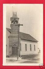RPPC WOOD CHURCH WITH BELL TOWER STEEPLE TELEPHONE POLE INSULATORS BIRD NEST