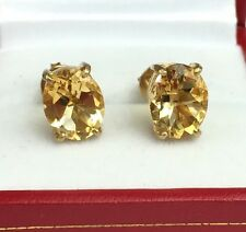 14k Solid Yellow Gold One Stone/solitaire Stud Earrings, Natural Citrine 5TCW