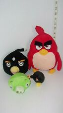 Lot Angry Birds Plush Black Bomb, Green Pig,, Red Bird