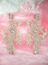 "Appliques Floral Venise Lace Champagne Mirror Pair Sequin Beaded Set 7"" (DH50)"