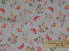 Anything is Possible Pink Ribbon Breast Cancer Survivor Fabric by 1/2 Yd 42140-1