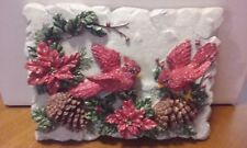 Decorative Christmas Holiday Wall Plaque - Winter Picture of Red Cardinal Birds