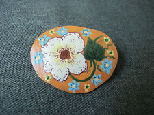 New ListingVintage folk cute hand painted flowers & leaves gourd pin brooch