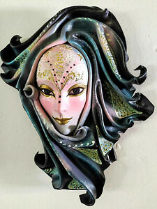 Fata - Maschera veneziana artigianale in cartapesta e cuoio - Pezzo unico