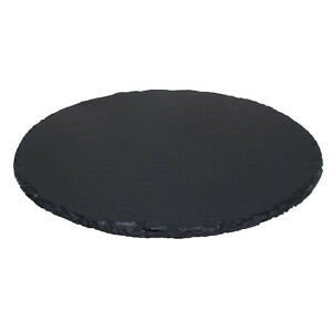 30cm Natural Slate Lazy Susan Rotating Revolving Round Serving Plate Table Tray