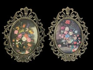 Vintage Pair Brass Framed Oval Floral Convex Bubble Dome Glass Framed Art Italy