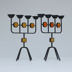 Gunnar Ander, Ystad Metall - A pair of tall candelabrums with four branches