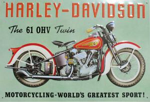 NEW Harley Davidson 61 OHV Motorcycle Nostalgic Reproduction Tin Sign