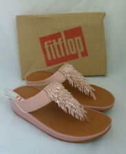 Fitflop Rumba Toe Thong Sandals Leather Dusky Pink Tassel Toe Post Box Size 6