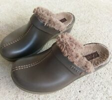 Women's CROCS 8 Brown Faux Fur Split Toe Slip On Mules Clog Shoes Slide Open