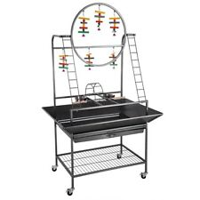 "69"" Bird Play Stand Parrot Perch Pet Feeder Supply Gym w/Wheel Bowl Ladder Metal"