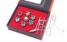 Katekyo Hitman Reborn Vongola Cosplay Ring Pendant Necklace Metal Set New