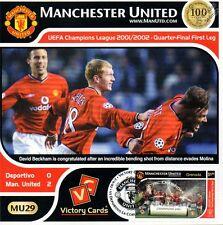 MAN U 2001-02 Deportivo (David Beckham) Football Stamp Victory Card #129