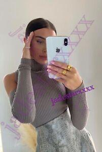 Zara Mink Knit Open Sleeve Top New M Medium 10 Arm Warmers