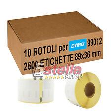 10 x ROTOLI ETICHETTE ADESIVE DYMO 99012 89x36 mm STAMPANTE LABELWRITER 400 450