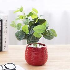5.5 Inch Red Ceramic Wavy Design Flower Planter, Decorative Centerpiece Vase
