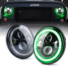 "Xprite 7"" 90W LED Headlights with Green Halo Angel Eye for Jeep Wrangler JK TJ"