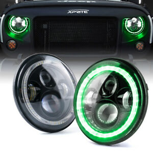 "Pair 7""Inch Round LED Headlights Green Halo for 1997-2018 Jeep Wrangler JK LJ TJ"