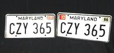 VINTAGE Maryland ORIGINAL 1986 * LICENSE PLATES * Front and Back * CZY 365
