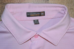 Peter Millar Summer Comfort S/S Polo Shirt Men Medium Pink Striped EUC B78