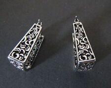 DS1 Lia Sophia Jewelry Brocade Antiqued Silver Plated Pierced Earrings RV$32