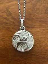 "Swarovski Rhodium Plated 20"" Necklace with Round Crytal Embellished Pendant"