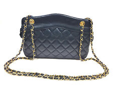 fec1e2016ec1 Vintage CHANEL Blue Quilted Lambskin Gold Chain & Leather Strap Shoulder Bag
