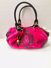 Juicy Couture Purse, Hot pink velour bag with magnetic close.Black faux leather