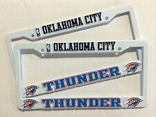 2 THUNDER White License Plate Frame NEW Auto Truck FREE SHIP Oklahoma City NBA