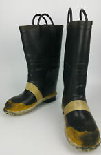 Vtg SERVUS FIREFIGHTER Made in USA Steel Toe Wool Insulated Rubber Boots 8 Wide