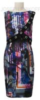 Joseph Ribkoff 184712 black/multi print knee length dress uk12 REDUCED!