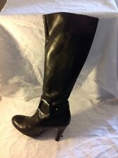 Buffalo London Black Knee High Leather Boots Size 39