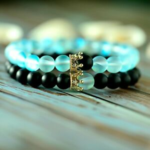 2Pcs Couples Distance Bracelet Moonstone Lover Crown Beads His And Her Bracelets