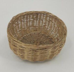 Woven Cane Boho Basket Round Storage Holder Natural Small Display Hamper Gift