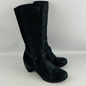 "Womens 8 Merrell Evera Amp Boot Black Leather & Suede Size Zipper 2.75"" Heels"