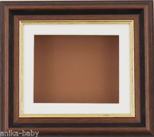 Mahogany/Gold Trim display frame / Cream mount & Brown Backing
