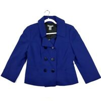 Ann Taylor Womens Size 10 Jacket Blue Double Breasted Blazer Cropped Sleeves