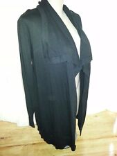Katie long line black viscose cardi cardigan jumper jacket XL 18  Ribbed details
