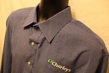 Men's O'Charley's Dress Shirt Sz 17 1/2 37 Tall Lands End Broadcloth Blue Plaid