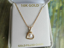 SOLID 10 kt Gold Heart w/ Cultured Pearl 18 Inch Chain in G.F.