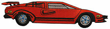 """#3885 8-1/2""""x1-3/4"""" Red Race Car Embroidery Iron On Applique Patch"""