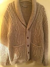 Mens Vintage ALAN MICHAELS Heather Wool Shawl Cardigan Sweater Men's M L