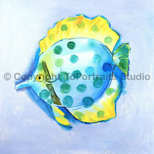 "Yellow / Blue Fish, Original Handmade Kids Oil Painting on Canvas Art, 30"" x 30"""