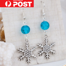 Frozen Snowflake Elsa Silver Blue Bead Resin Drop Dangle Earrings Disney Gift