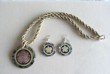 Fashion Necklace & Earring set- abalone shell inlaid- turtles- round beads