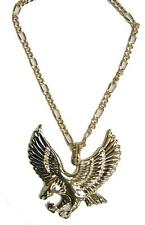 JUMBO GOLD BLING EAGLE PENDANT WITH 24 INCH CHAIN NECKLACE mens womens NEW
