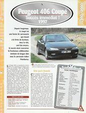 PEUGEOT 406 COUPÉ 1997 - FICHE AUTO TECHNIQUE VOITURE VÉHICULE COLLECTION