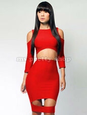 Womens Sexy Shoulderless Bare Midriff  Bandage Bodycon Party Polyamide Dress M