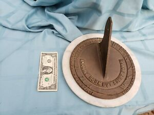 """Heavy 10"""" solid Bronze & Marble COMPASS SUNDIAL"""